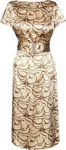 Brązowa sukienka Fokus z okrągłym dekoltem midi z krótkim rękawem