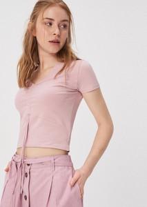 Różowy t-shirt Sinsay w młodzieżowym stylu