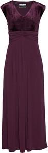 Czerwona sukienka bonprix bpc selection premium z dekoltem w kształcie litery v z krótkim rękawem