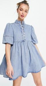 Niebieska sukienka Lost Ink mini z golfem w stylu casual