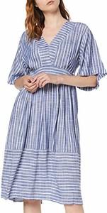 Niebieska sukienka amazon.de koszulowa z dekoltem w kształcie litery v w stylu casual