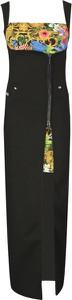 Sukienka Versace Jeans z dekoltem w karo na ramiączkach maxi