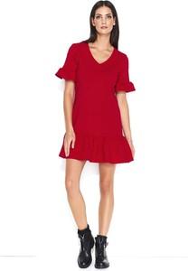 c49d4f6cb9 Czerwona sukienka Makadamia z krótkim rękawem z bawełny trapezowa
