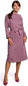 Fioletowa sukienka Be midi z długim rękawem