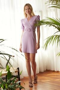 Fioletowa sukienka Trendyol z krótkim rękawem z dekoltem w kształcie litery v mini