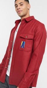 Czerwona koszula Asos Actual z wełny z klasycznym kołnierzykiem z długim rękawem