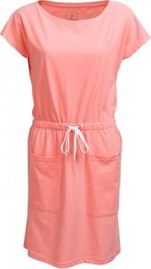 Różowa sukienka Outhorn midi z okrągłym dekoltem z krótkim rękawem