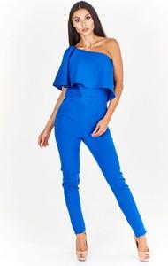 Niebieski kombinezon Fokus w stylu casual z długimi nogawkami