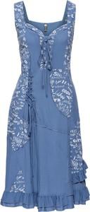 Niebieska sukienka bonprix rainbow gorsetowa bez rękawów