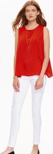 Czerwona bluzka Troll w stylu casual z krótkim rękawem z okrągłym dekoltem