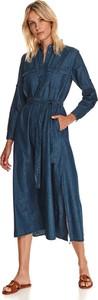 Niebieska sukienka Top Secret w stylu casual koszulowa z długim rękawem