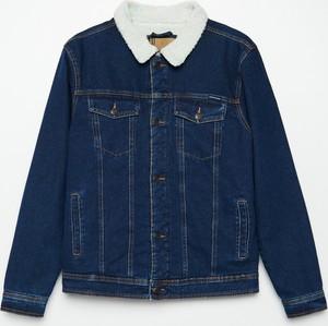 Granatowa kurtka Cropp z jeansu w młodzieżowym stylu