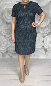 Sukienka Dorota z krótkim rękawem midi z tkaniny