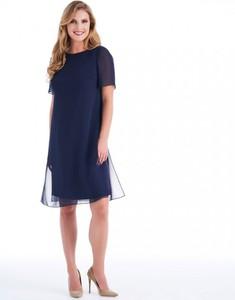 Granatowa sukienka POTIS & VERSO wyszczuplająca z satyny z krótkim rękawem