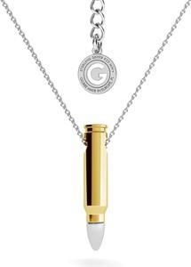 GIORRE SREBRNY NASZYJNIK NABÓJ POCISK SREBRO 925 : Długość (cm) - 45 + 5, Kolor pokrycia srebra - Pokrycie Różowym 18K Złotem