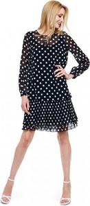 Sukienka L'AF rozkloszowana z długim rękawem z tkaniny