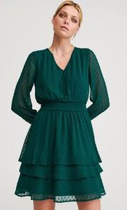 Sukienka Reserved w stylu casual z tkaniny z długim rękawem