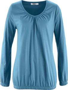 Błękitna bluzka bonprix bpc bonprix collection z długim rękawem w stylu casual z okrągłym dekoltem