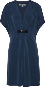 a848698939 Niebieska sukienka bonprix bpc selection mini z dekoltem w kształcie litery  v w stylu casual