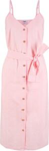 Sukienka bonprix bpc bonprix collection z lnu z dekoltem w kształcie litery v
