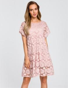 Różowa sukienka MOE z krótkim rękawem z okrągłym dekoltem