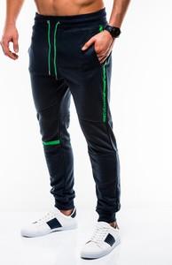 Granatowe spodnie sportowe Edoti z dresówki