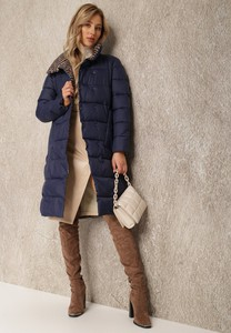 Granatowa kurtka Renee przejściowa w stylu casual bez kaptura