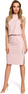 Różowa sukienka MOE z tkaniny midi