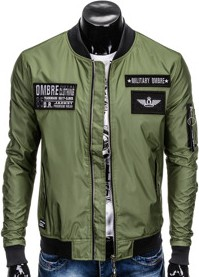 Ombre clothing kurtka męska przejściowa bomberka c350 - oliwkowa