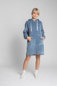 Niebieska sukienka Lalupa w stylu casual z bawełny z długim rękawem