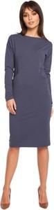 Niebieska sukienka Be midi z dekoltem w łódkę z długim rękawem