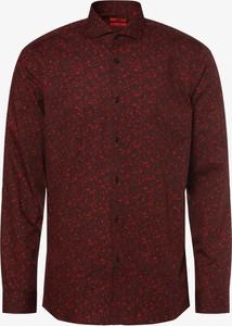 Czerwona koszula Hugo Boss z bawełny z włoskim kołnierzykiem z długim rękawem