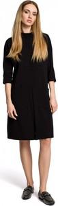 Czarna sukienka MOE z okrągłym dekoltem w stylu casual z dresówki