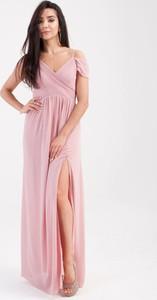 Sukienka Butik Ecru maxi kopertowa z krótkim rękawem