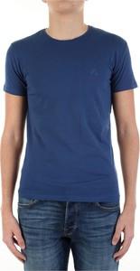 Niebieski t-shirt Yes Zee w stylu casual z krótkim rękawem