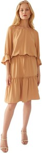 Brązowa sukienka ECHO z długim rękawem