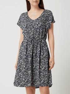 Czarna sukienka Tom Tailor Denim mini z dekoltem w kształcie litery v z krótkim rękawem