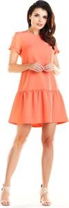 Pomarańczowa sukienka Awama mini rozkloszowana z okrągłym dekoltem