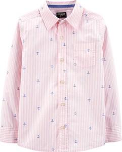 Różowa koszula dziecięca OshKosh w paseczki z bawełny