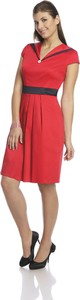 Czerwona sukienka Fokus rozkloszowana midi z krótkim rękawem