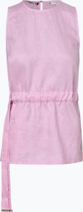 Różowa bluzka Tommy Hilfiger z okrągłym dekoltem z lnu bez rękawów