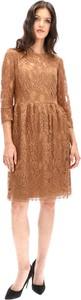 Brązowa sukienka Lavard z długim rękawem z wełny w stylu casual