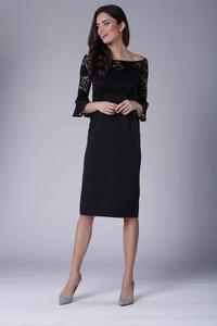 Czarna sukienka Nommo midi z długim rękawem dopasowana