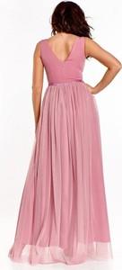Różowa sukienka Nubile z dekoltem w kształcie litery v maxi