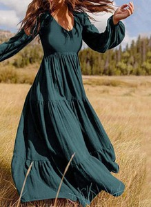 Sukienka Cikelly maxi z długim rękawem z dekoltem w kształcie litery v