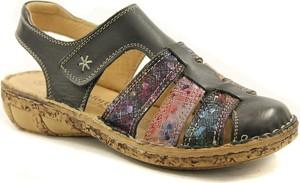 Czarne sandały Comfortabel na niskim obcasie na koturnie