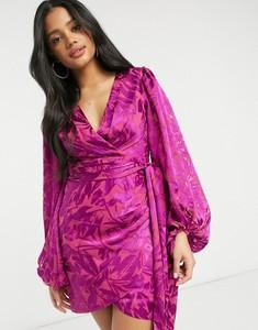 Różowa sukienka Forever New mini z żakardu z długim rękawem