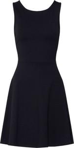 Czarna sukienka edc by Esprit z okrągłym dekoltem z dżerseju bez rękawów