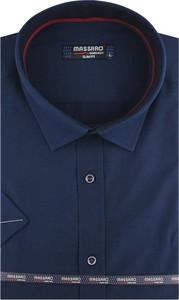 Niebieska koszula Massaro z klasycznym kołnierzykiem z tkaniny z krótkim rękawem