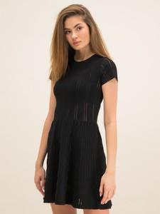 Czarna sukienka Pinko mini z okrągłym dekoltem z krótkim rękawem